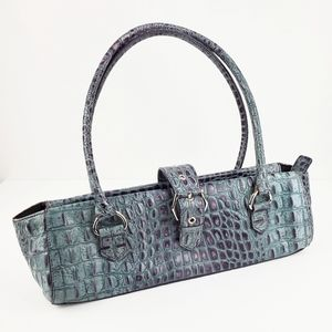 KENNETH COLE | plum leather crocodile purse